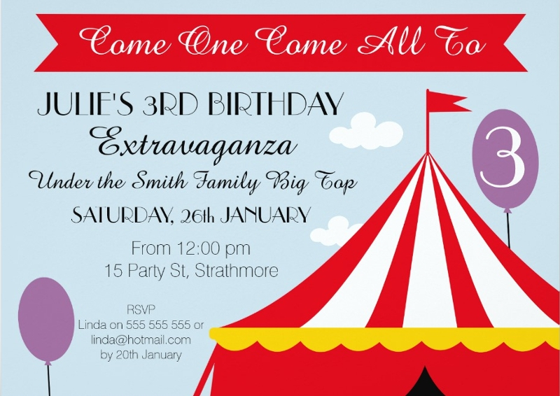 girls circus tent birthday party invitation