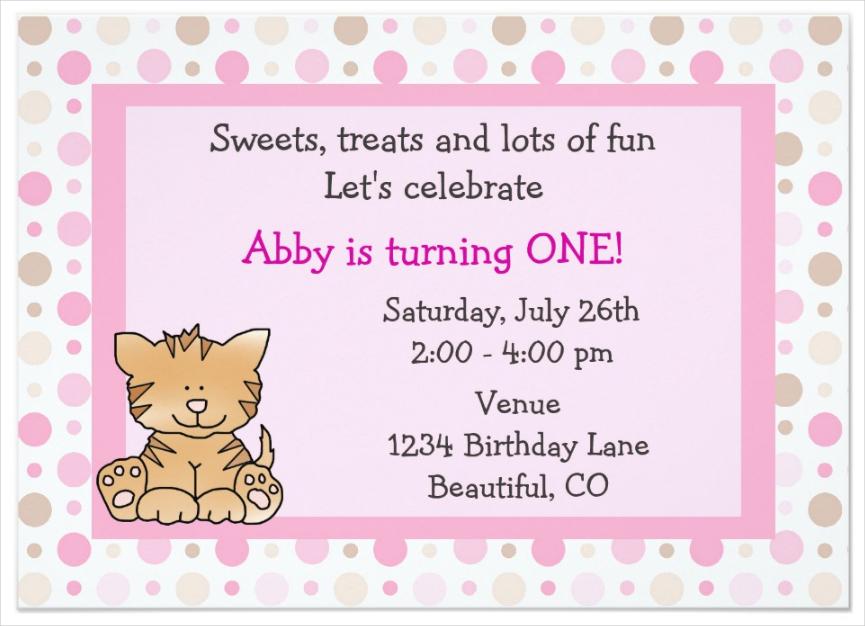 girls kitty 1st birthday invitation