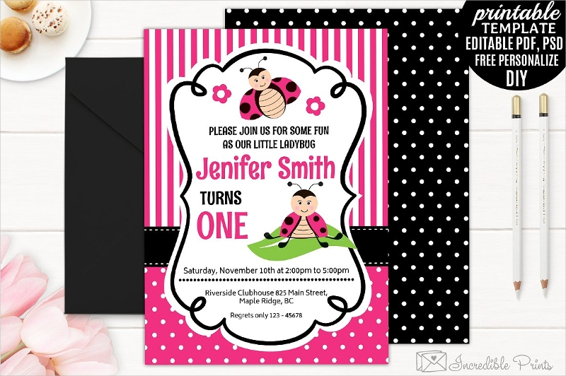 girls ladybug birthday party invitation