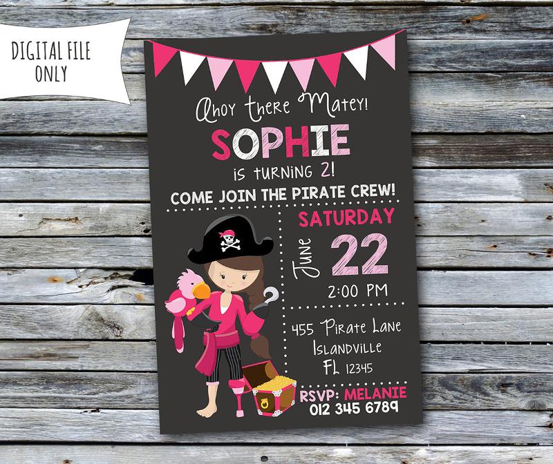 girls pirate birthday invitation