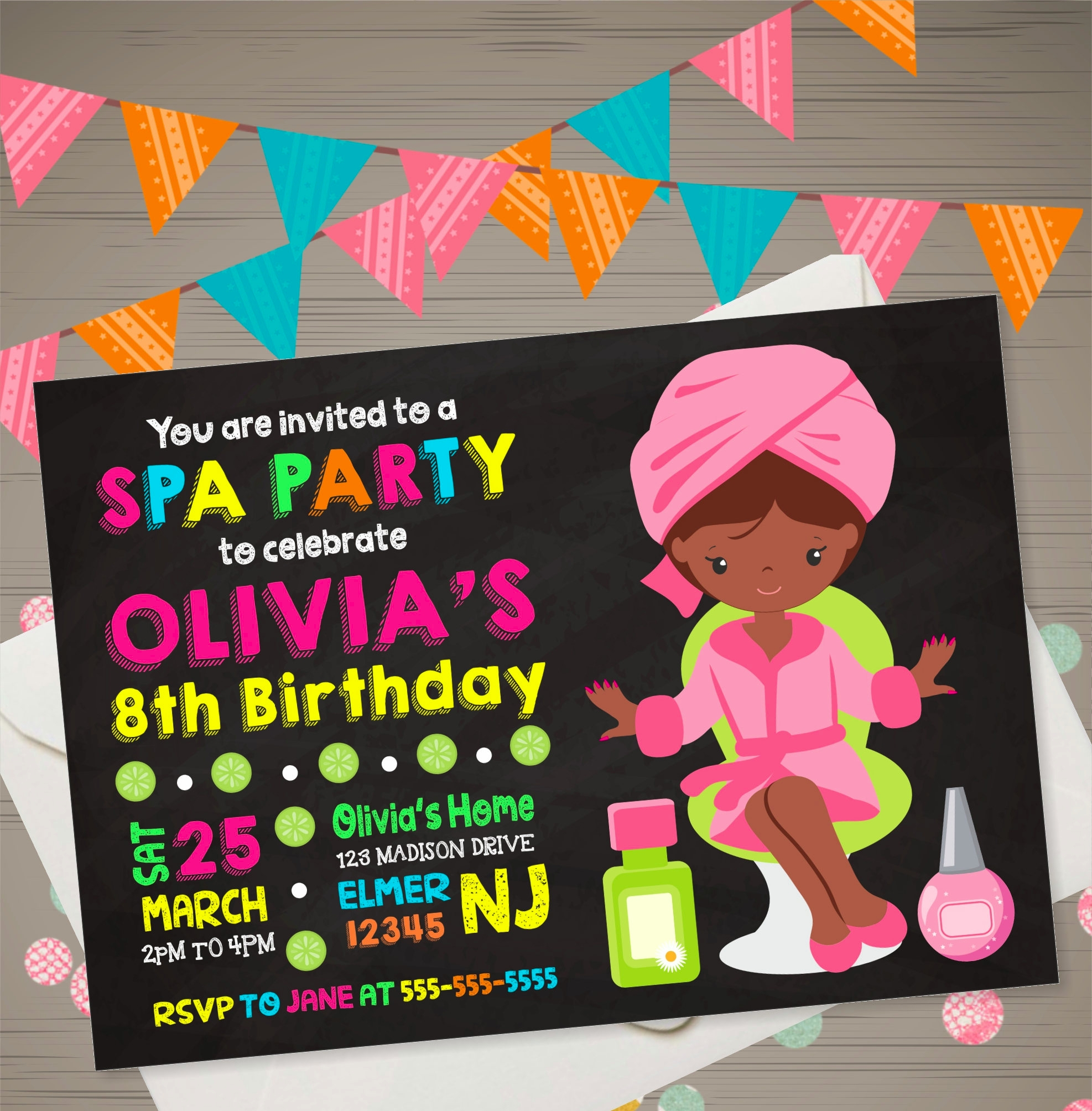girls spa party invitation
