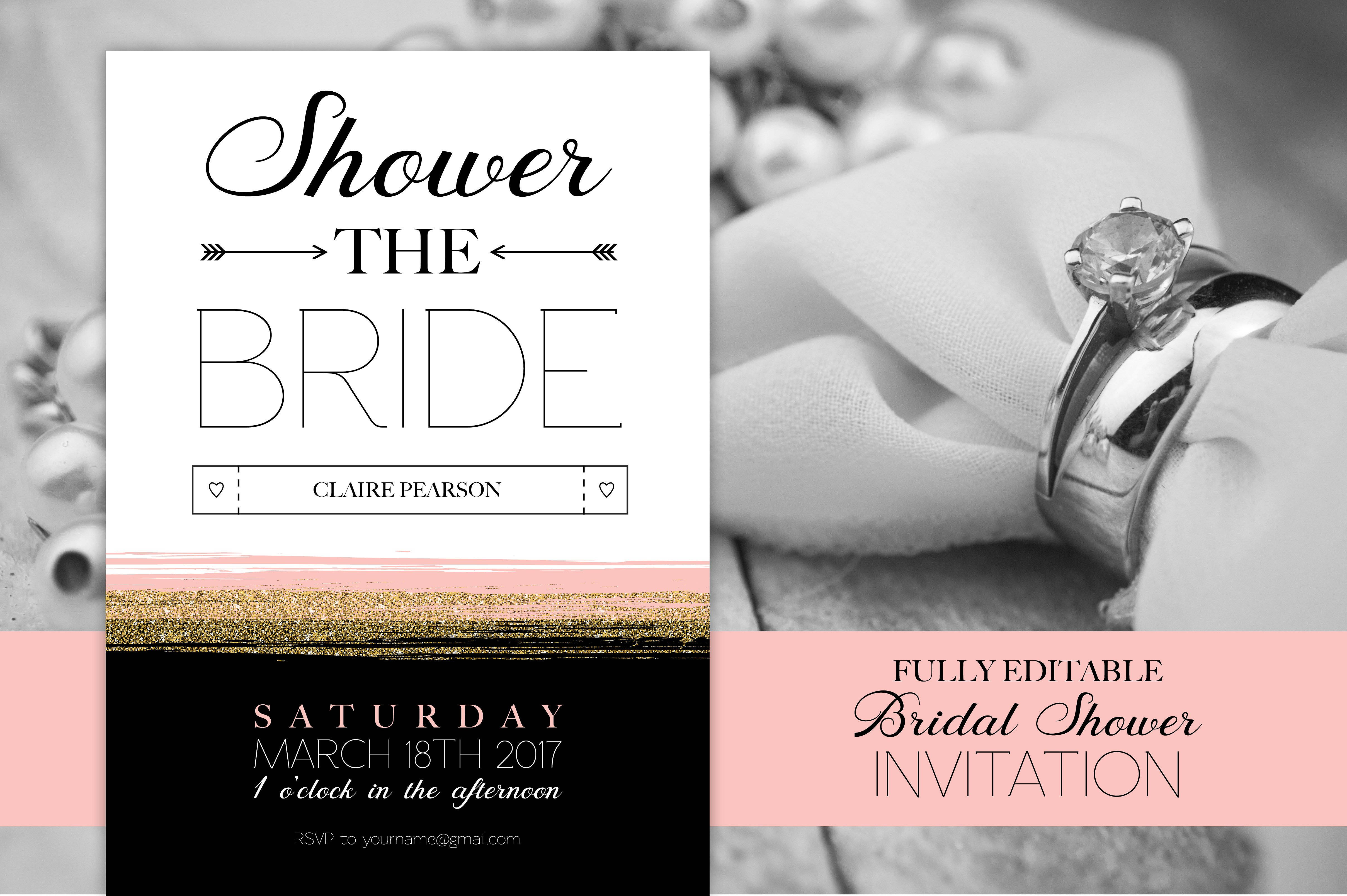 glam bridal shower invitation template