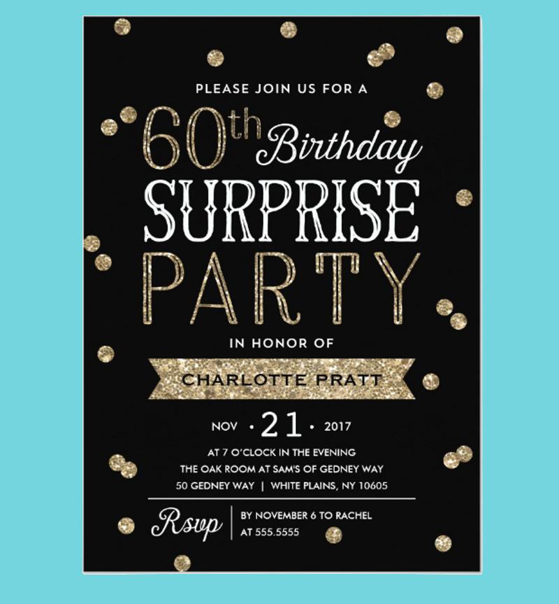glitter confetti surprise party invitation