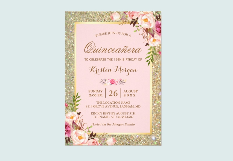 glitter quinceanera invitation