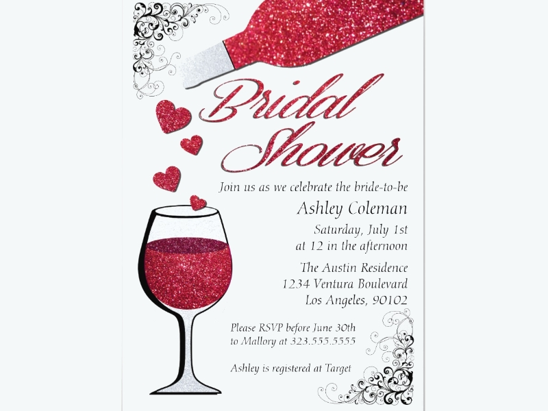 glitter wine bridal shower invitation1