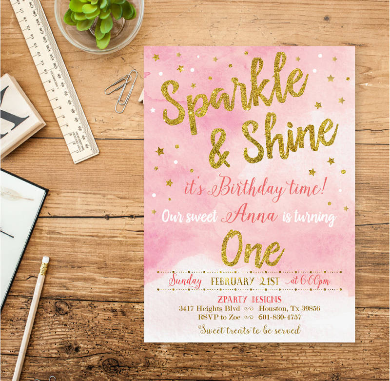 glitter and gold girl sparkle birthday invitation