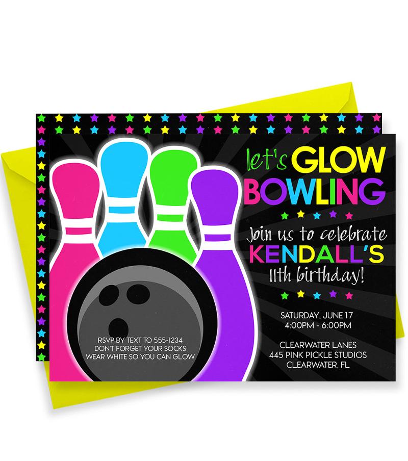 glow bowling invitation