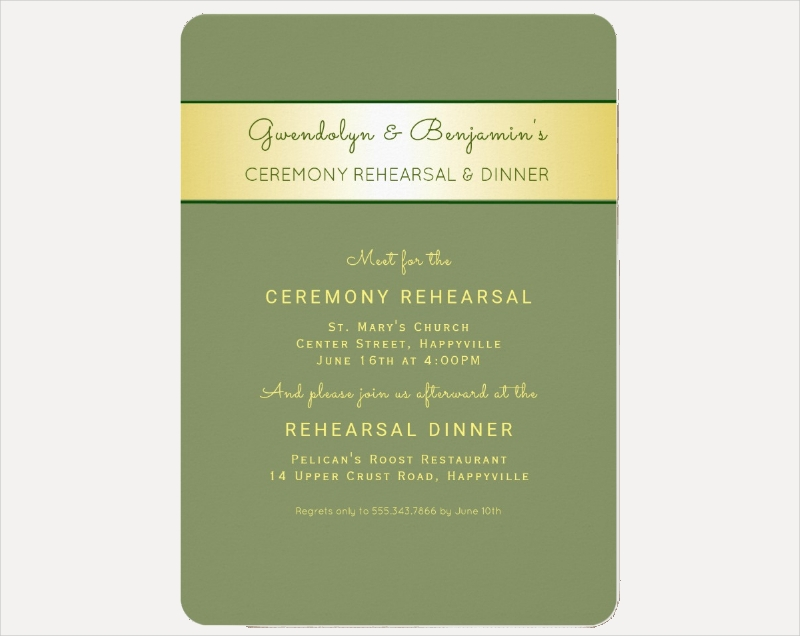 gold ceremony rehearsal dinner invitation