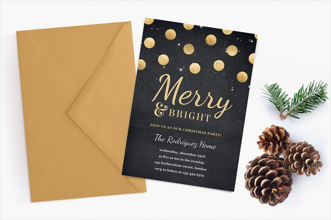 gold confetti holiday party invitation