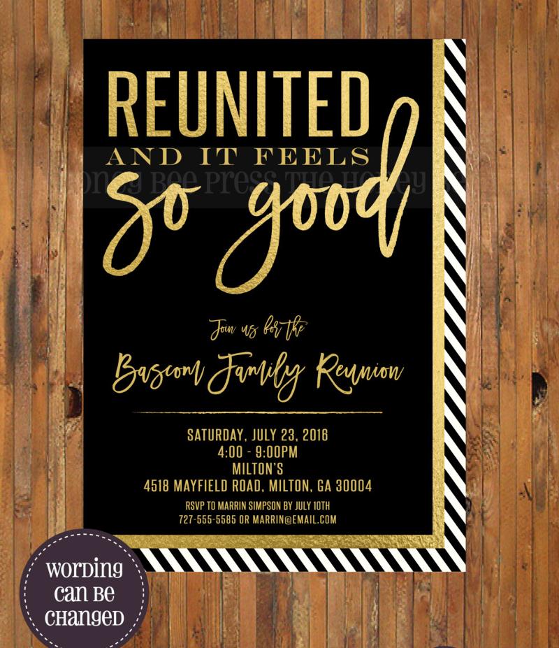 gold foil family reunion invitation