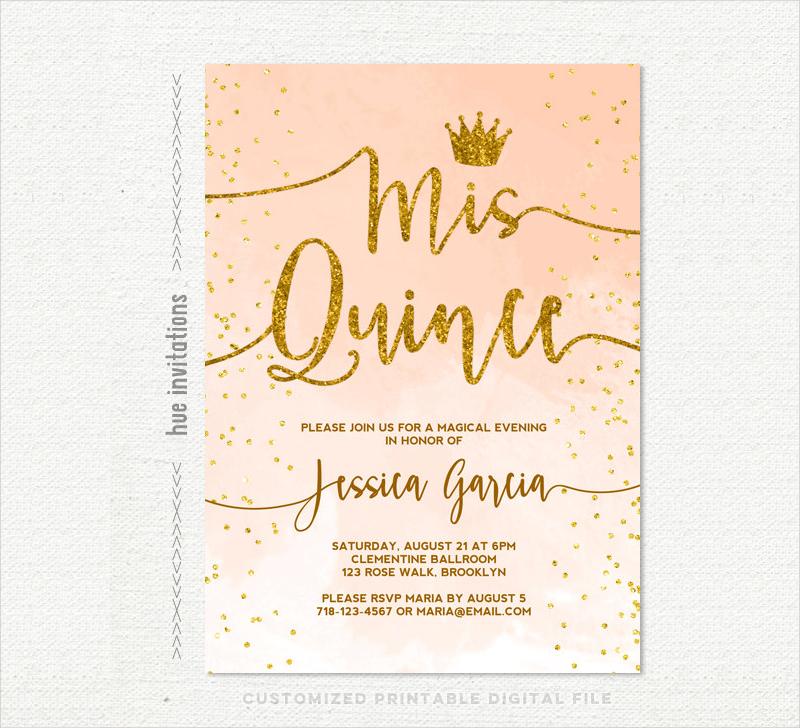 gold glitter quinceanera birthday invitation