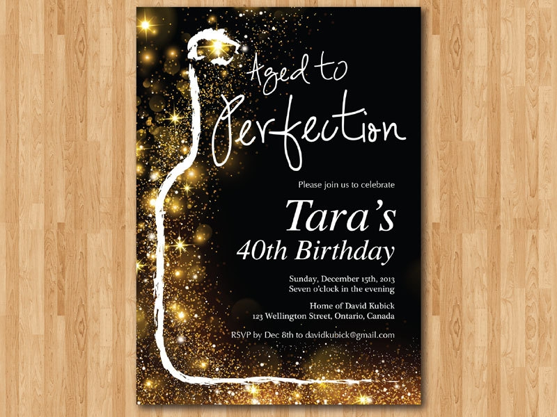 gold glitter wine birthday invitation