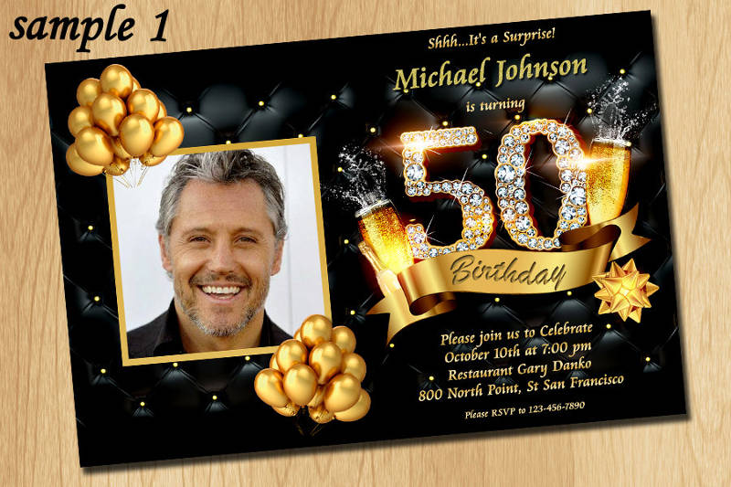 gold glitter and diamond 50th birthday party invitation