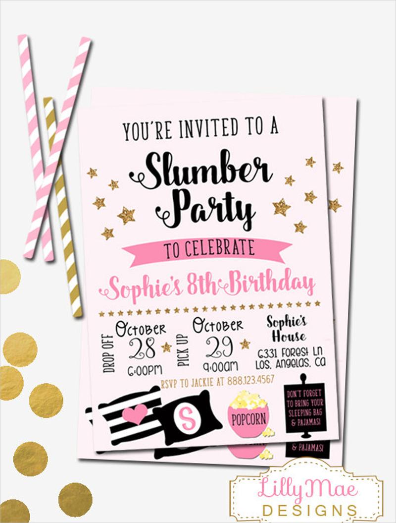 gold glittler slumber party invitation