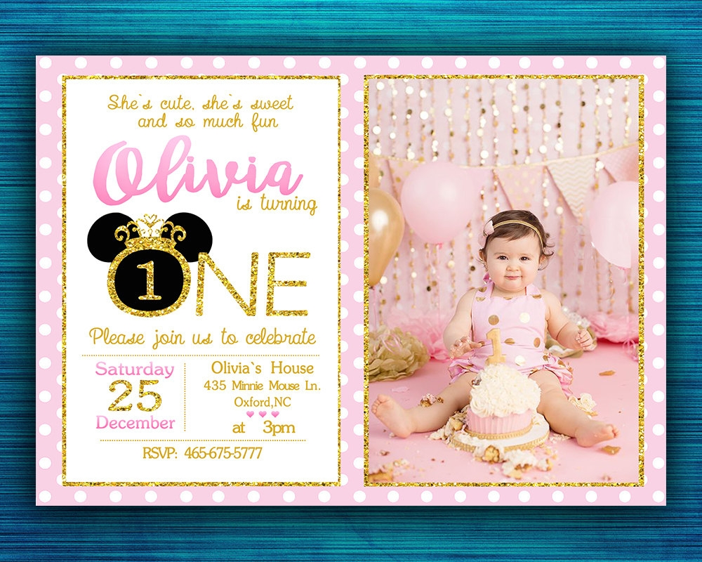 gold minnie mouse birthday invitation