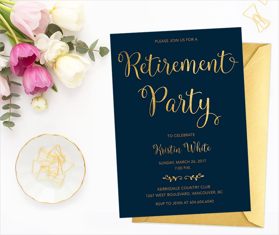 gold retirement invitation