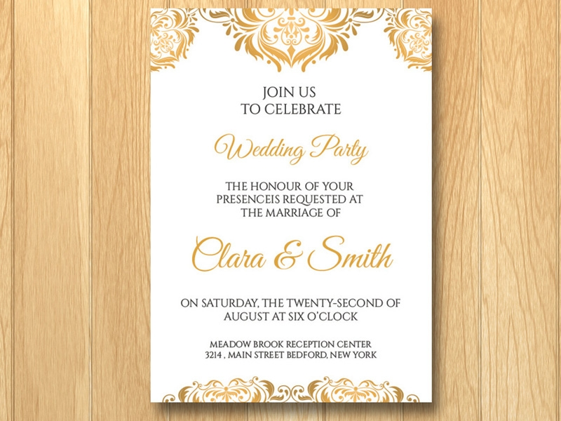 gold wedding invitation in psd