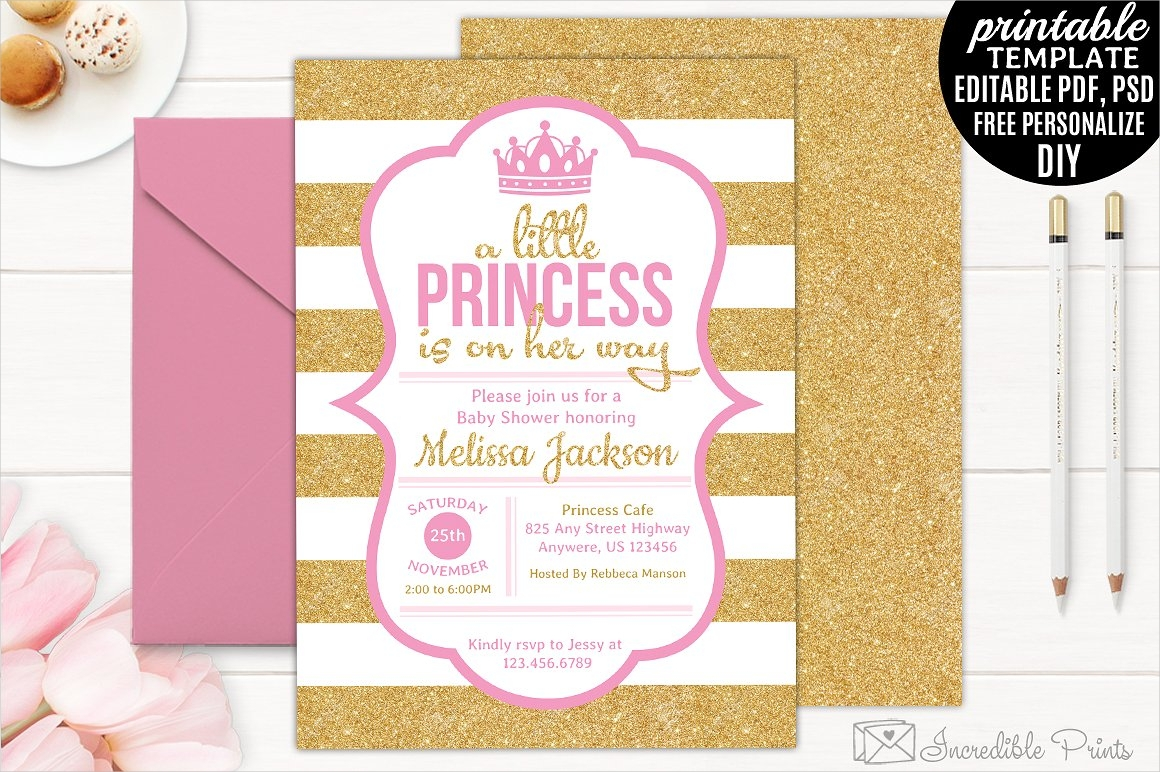 gold and pink princess invitation