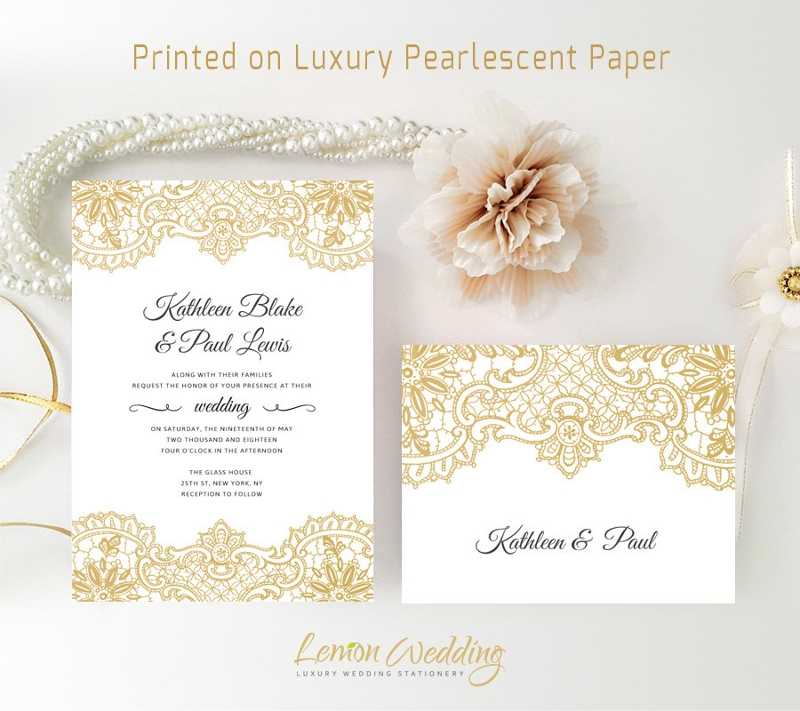 gold wedding invitations pack