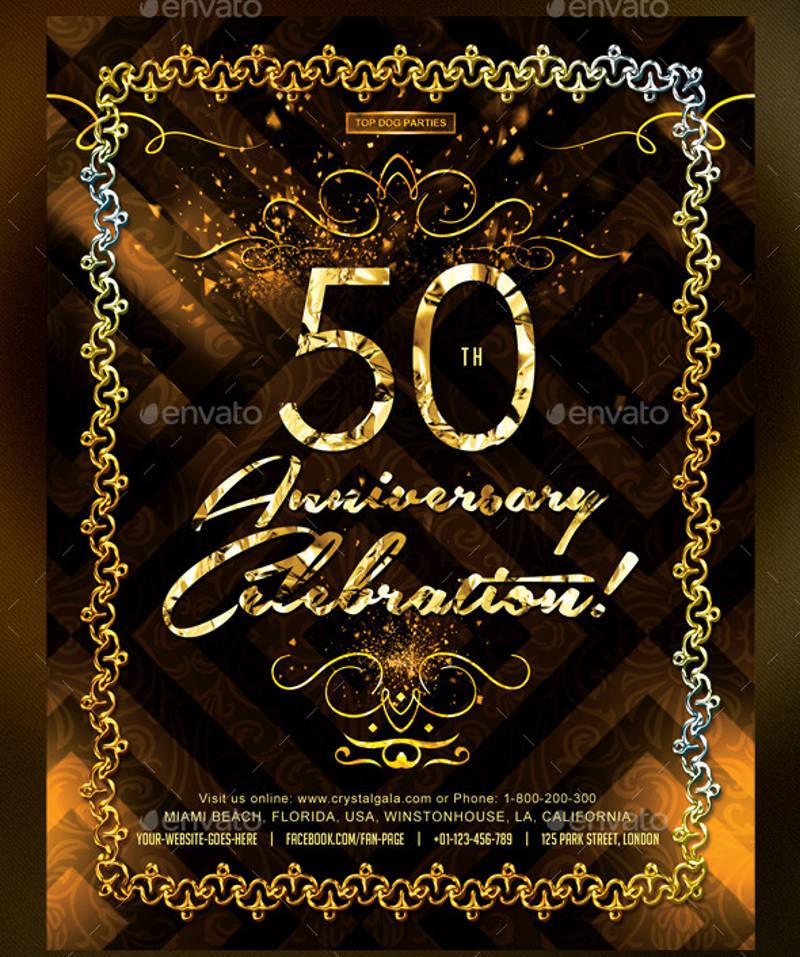 golden 50th anniversary birthday celebration invitation