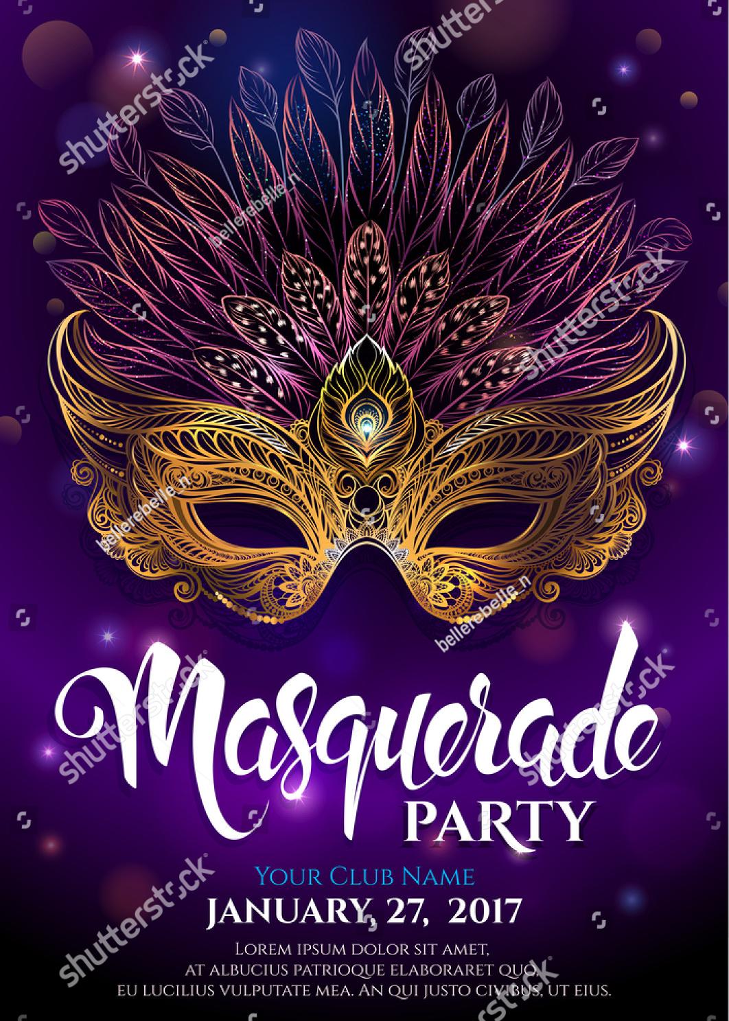 golden carnival masquerade party invitation
