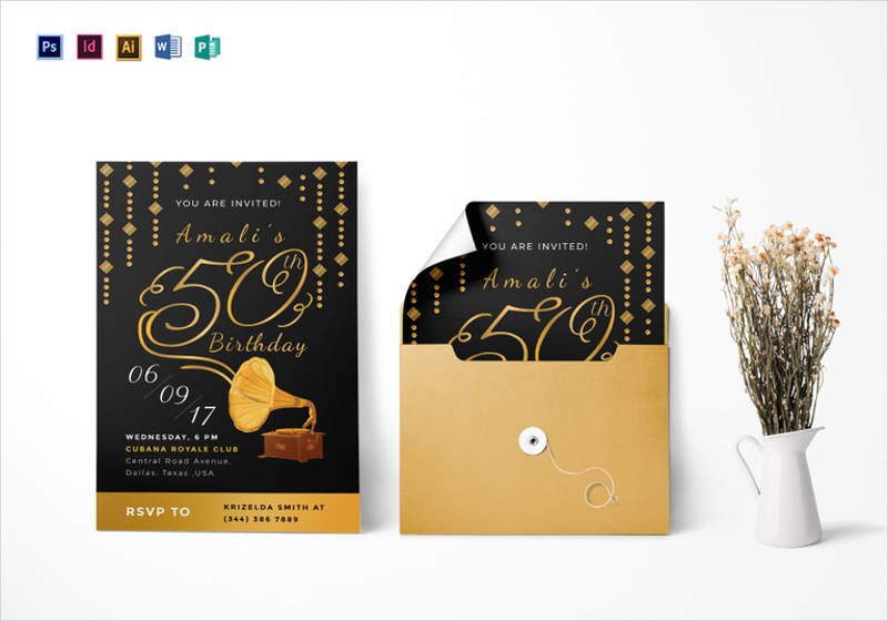 golden gramophone 50th birthday party invitation template