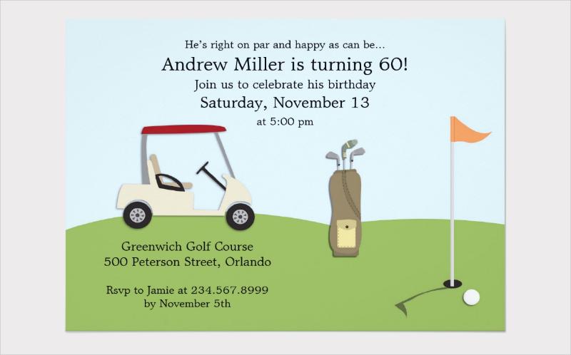 golf birthday flat invitation