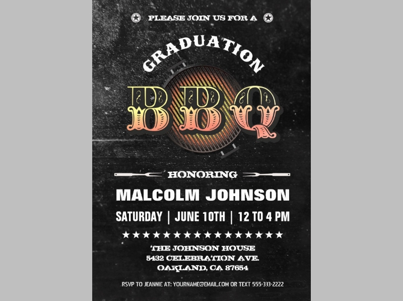 graduation bbq party invitation