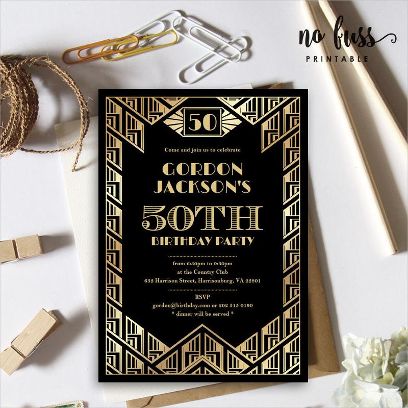 great gatsby birthday party invitation