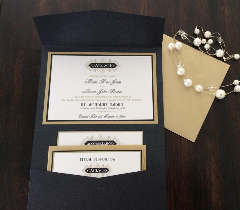 great gatsby pocket wedding invitation