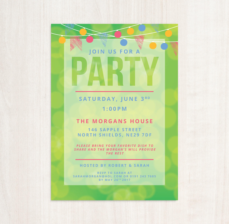 green bunting summer party invitation