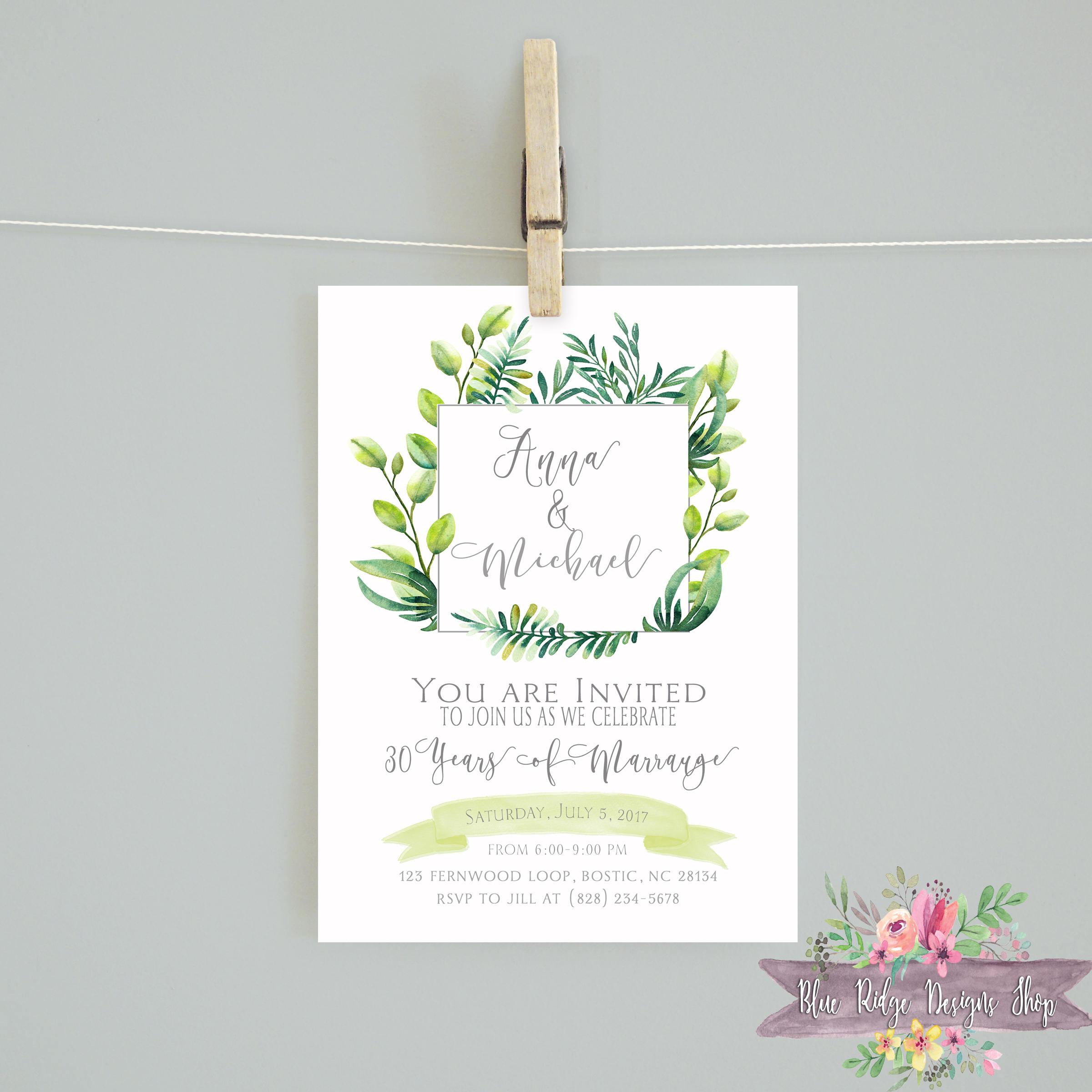 greenery anniversary invitation