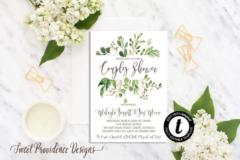 greenery couple shower invitation