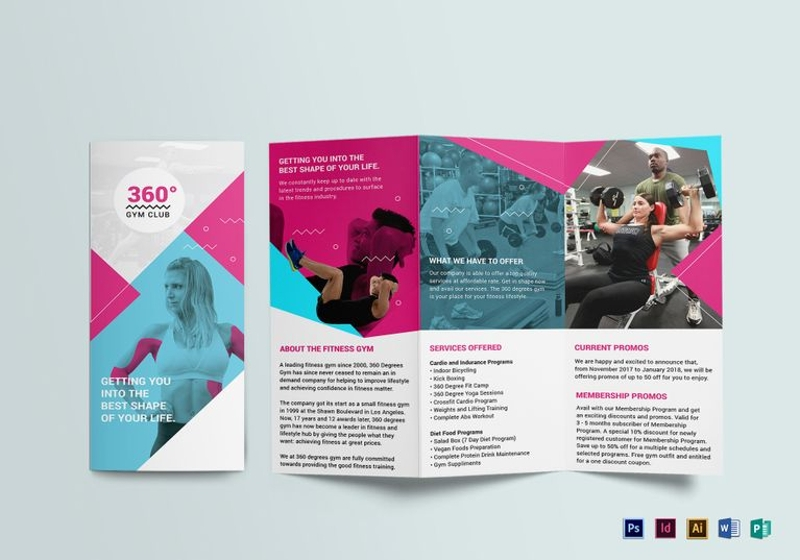 gym tri fold brochure design template