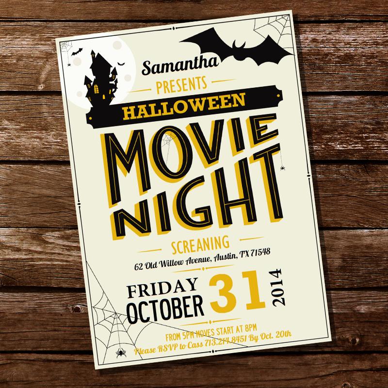 halloween movie night party invitation