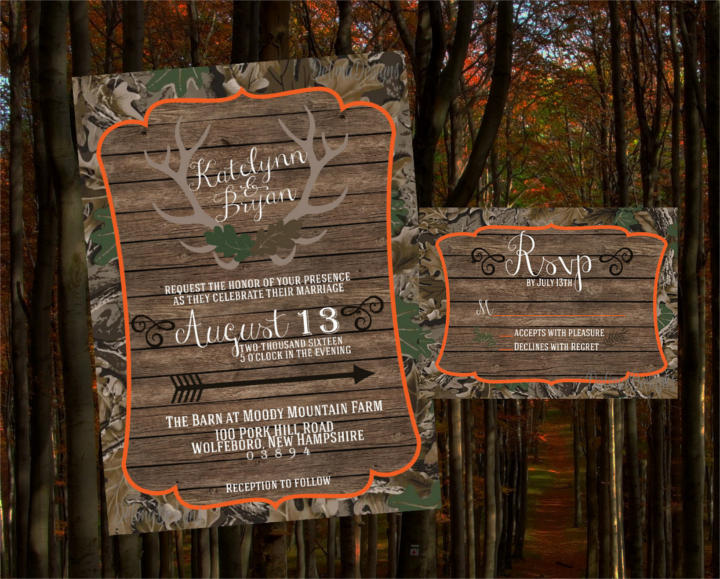 handmade camo wedding invitation set