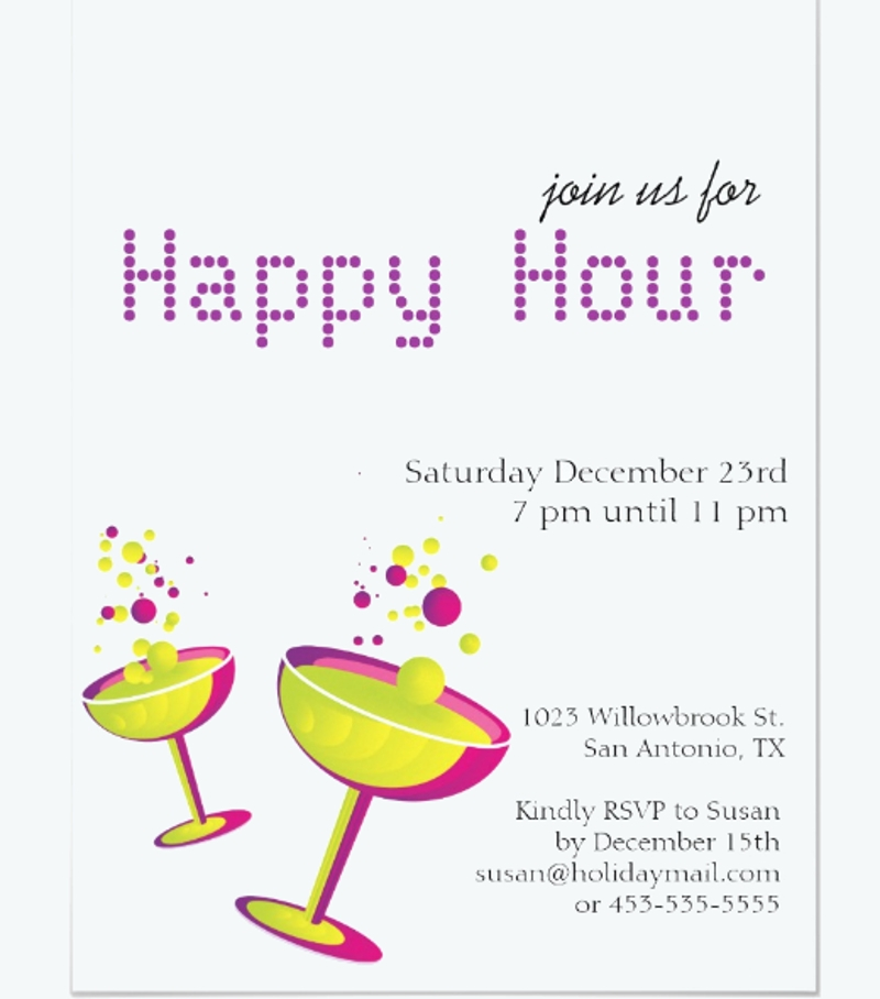 happy hour cocktails party invitation