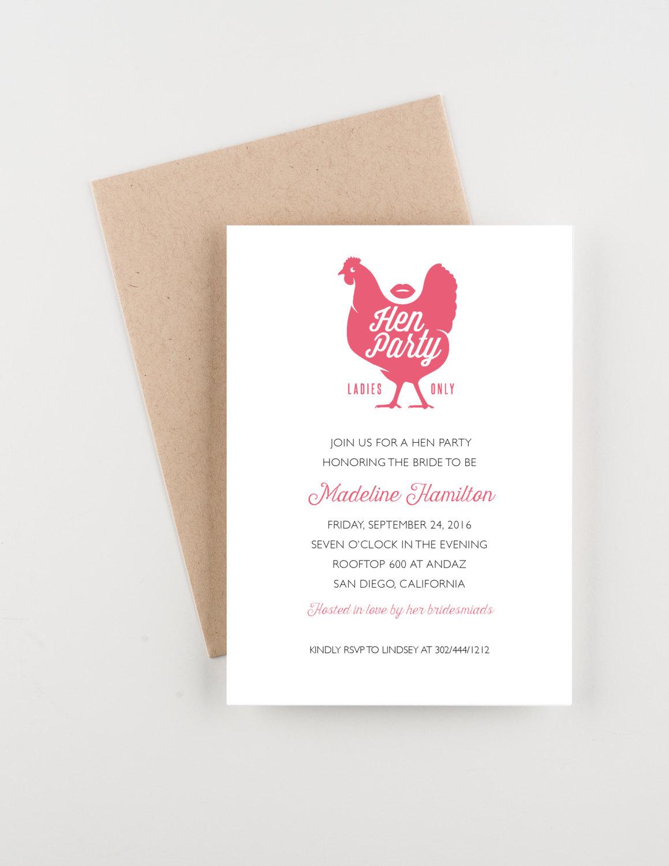 hen ladies night party invitation