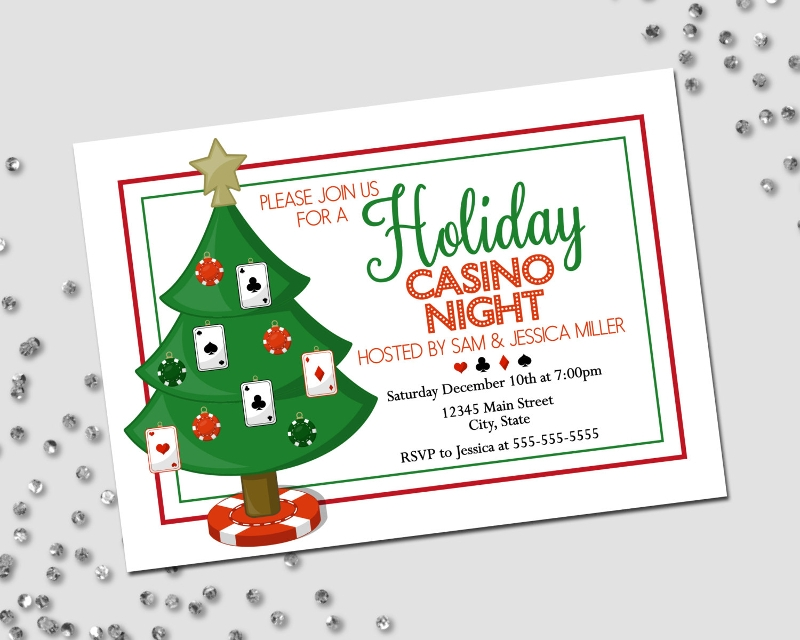 holiday casino party invitation