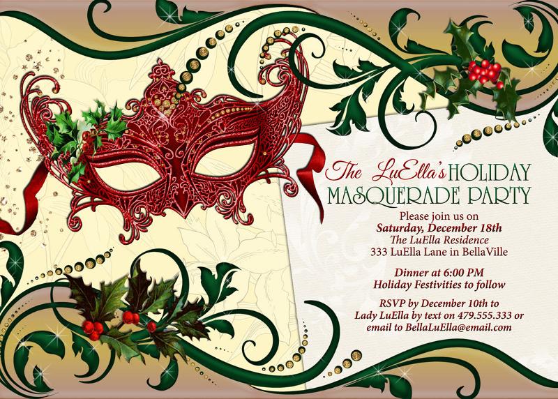 holiday masquerade party invitation