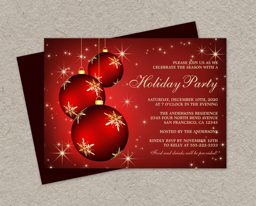 holiday party invitation with hanging ornaments
