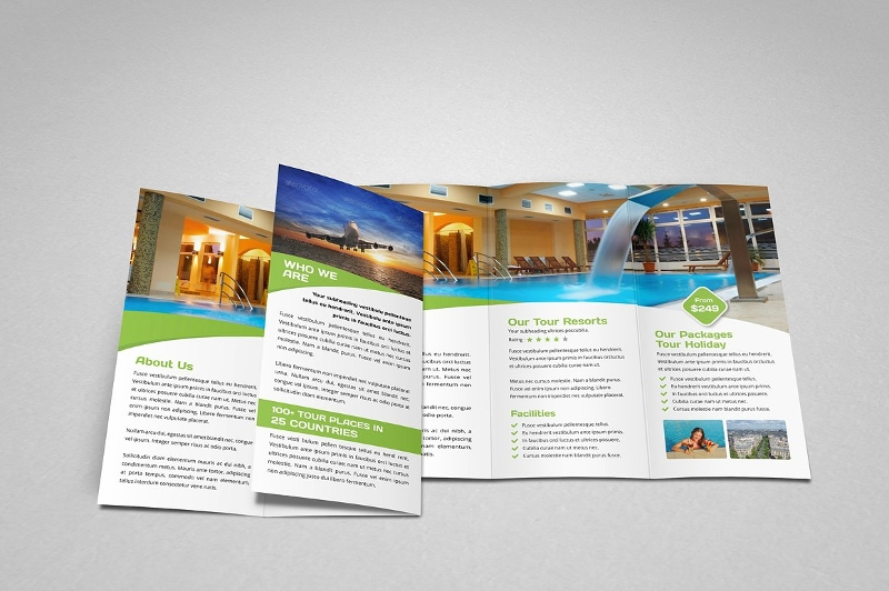 holiday travel trifold brochure template