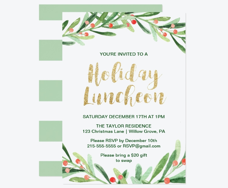 holly wreath holiday luncheon invitation card1