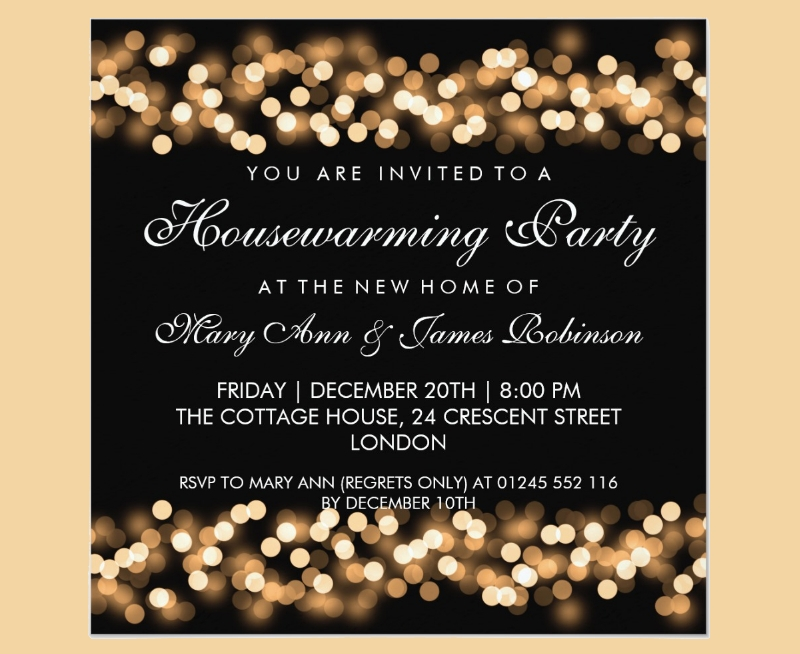 housewarming party gold card invitation