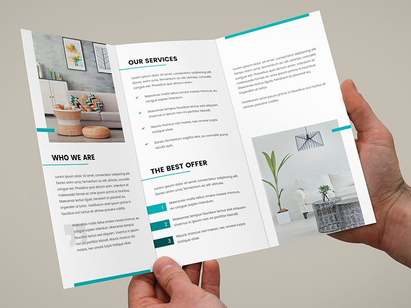 interior design tri fold brochure template