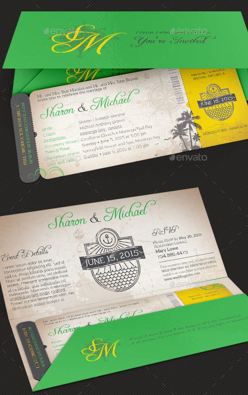 island wedding boarding pass invitation