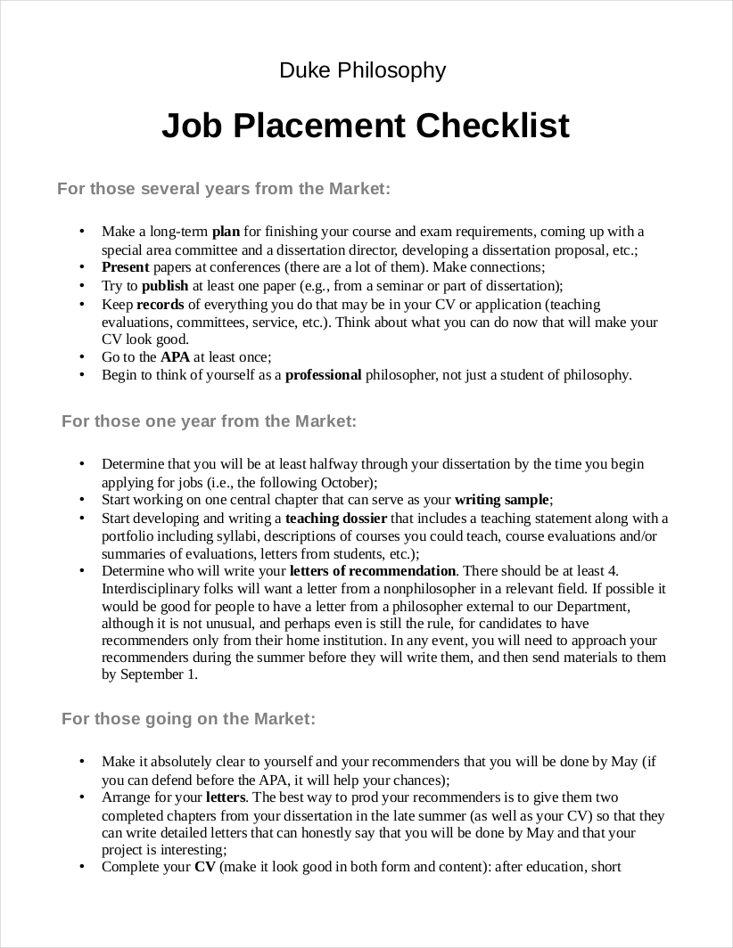 job placement application checklist sample1
