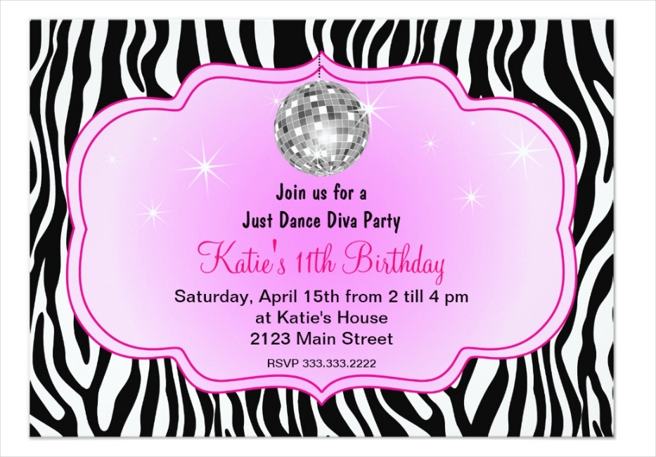 just dance disco diva party invitation