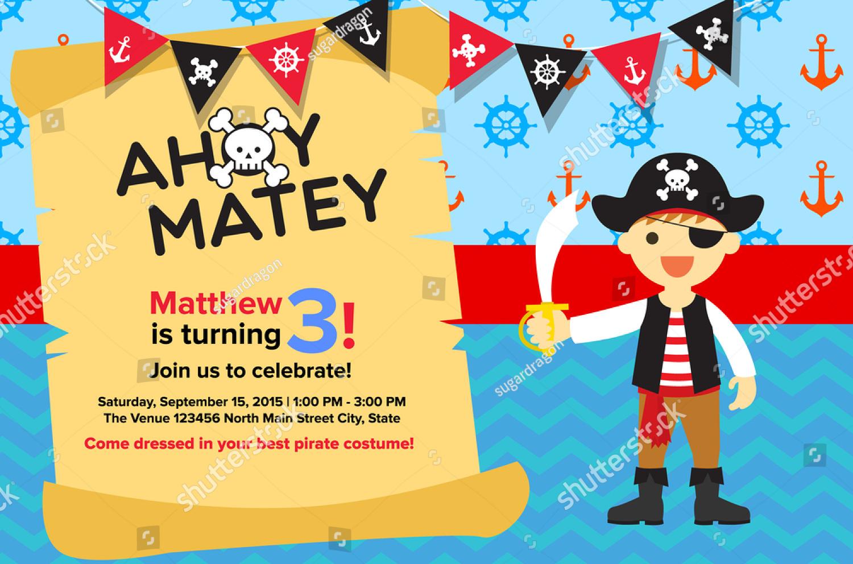 kid pirate party invitation