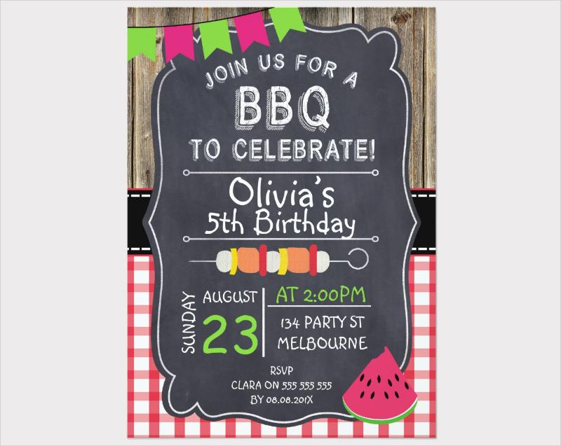 kids bbq birthday party invitation